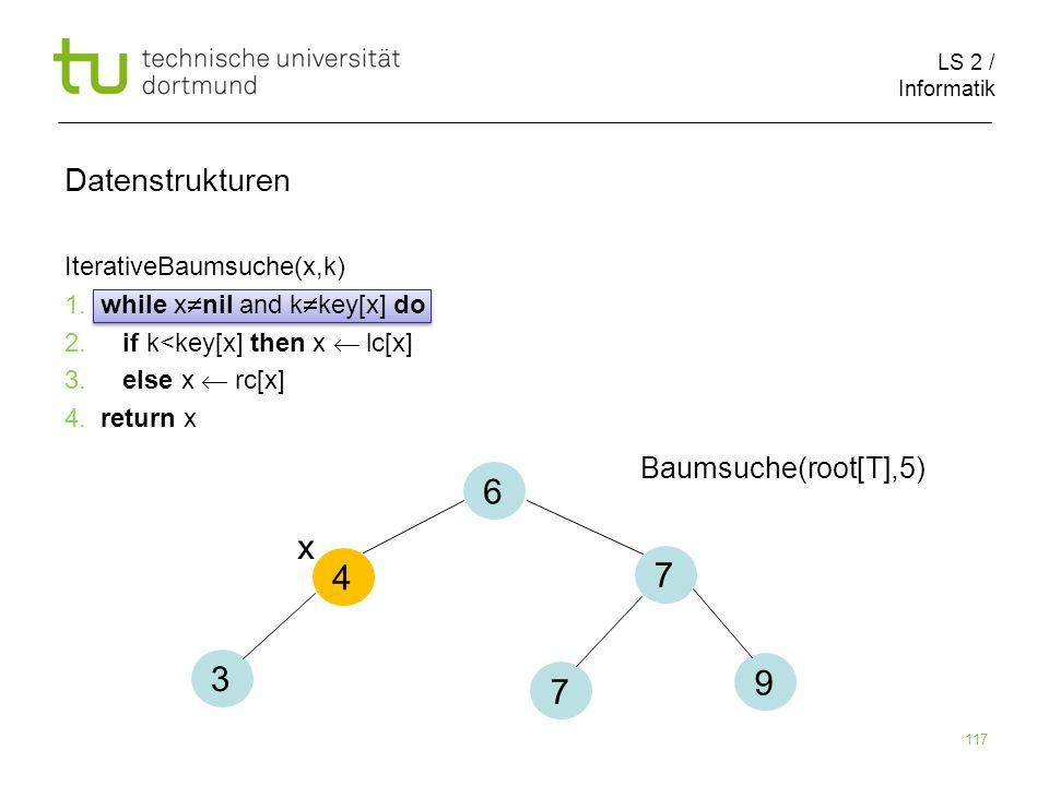 6 x 4 7 3 9 7 Datenstrukturen Baumsuche(root[T],5)